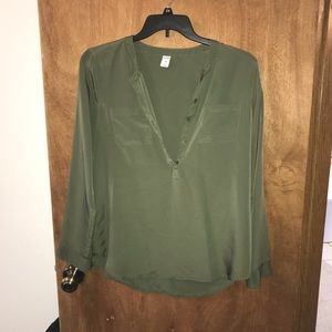 Old Navy Olive Green Long Sleeve Blouse